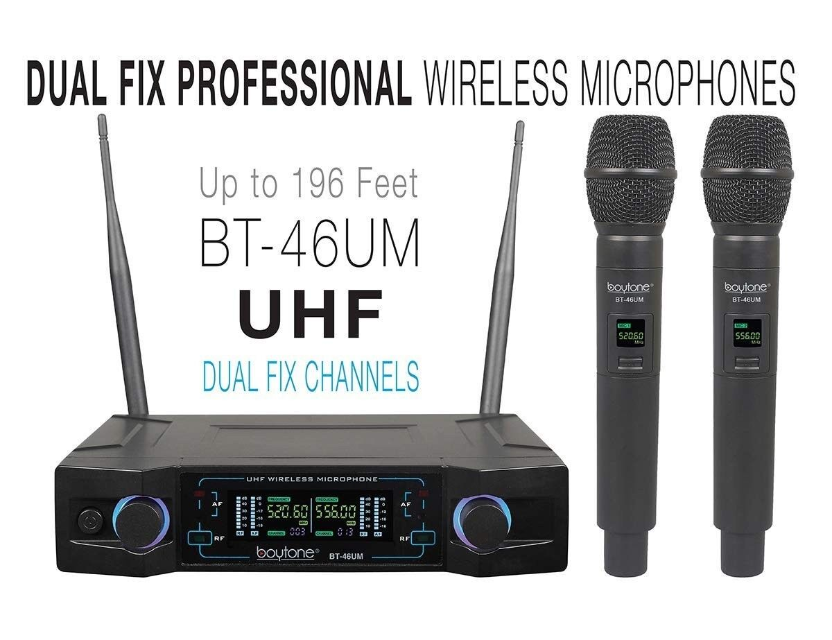 ^^Boytone BT-46UM UHF Digital Channel Wireless Microphone System Dual Fixed Freq