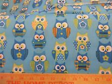 Stacked Owl Fabric 3 yard cut 108x44 Aqua Blue Lime Green cotton hoot feather