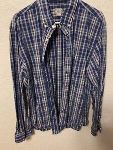 J-Crew-Mens-XL-Long-Sleeve-Button-Down-100-Cotton-Multi-Color-Plaid-Shirt-B25