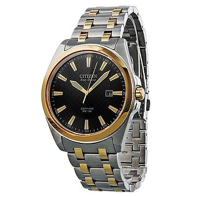 Citizen Corso Eco-Drive Black Dial Two-Tone Stainless Steel Mens Watch