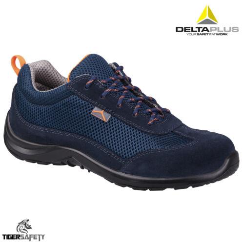 Delta Plus Como S1P SRC Homme Daim Bleu Maille Acier Bouts Baskets De Sécurité Chaussures