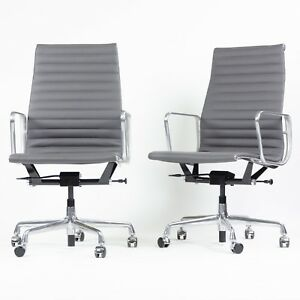 Details About 2018 Eames Herman Miller Leather High Executive Aluminum  Group Desk Chairs 6x