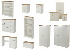 Colorado White and Oak Bedroom Furniture - Bedside, Drawers ...