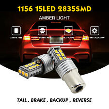 2X NO ERROR 2835 15SMD BA15S 1156 AMBER LED Rear Turn Signal Light Bulb For BMW