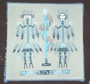 "Antiques Honey Ray Begay Navajo Sand Painting 6"" X 6"" Decorative Arts"