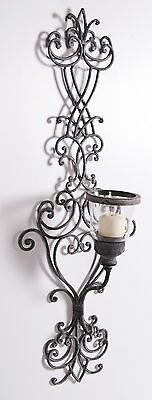 Wrought Iron Vintage Venetian Wall Mounted Candle Wall Sconce With Glass Holder