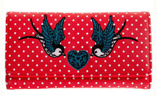 Banned Apparel Rockabilly 50s Polka Dot Tattoo Swallow Heart Wallet Purse RED