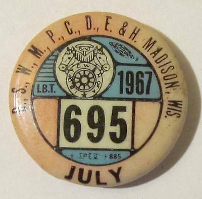 Madison Wi July 1967 Ibt 695 Union Local 1 Quot Pinback