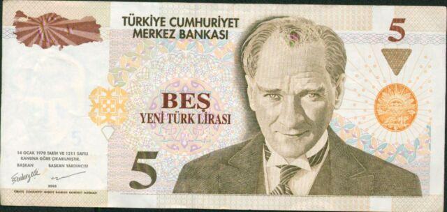 TURKEY 5 NEW LIRA 2005. P 217. UNC CONDITION.