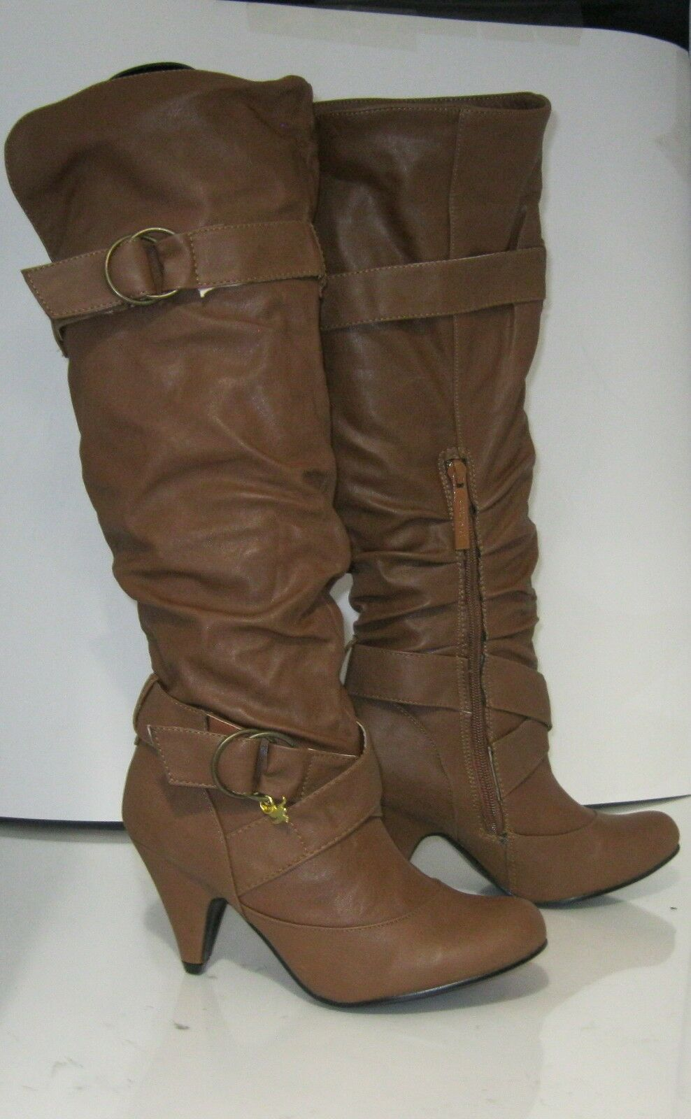 Tan 3  High Heel Round Toe Side Buckle Sexy Knee Boot Size 6