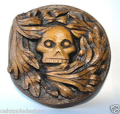 Green Man Skull Gothic Wall Plaque Greenman Carving Oak