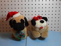 Dog Stuffed Animals In Santa Hats & Wreath - Set Of 2