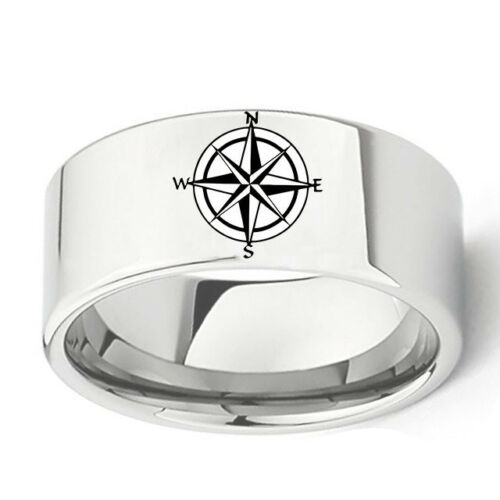10mm Stainless Steel Compass Silver Band Rings Men/'s Jewelry Size 6-13