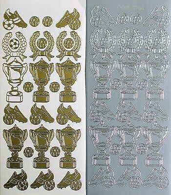 SPORT TROPHIES Soccer Football Tennis Netball PEEL OFF STICKERS Trophy Winner