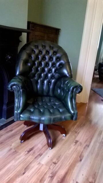 Green leather directors chesterfield chair