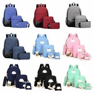 Men-Women-Girls-Backpack-Set-Travel-Shoulder-School-Bag-Canvas-Satchel-Rucksack