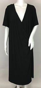 Lane-Bryant-Black-Surplice-V-Neck-Faux-Wrap-Dress-Short-Sleeve-Plus-Size-22-24