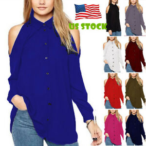 dbad1646c Image is loading Womens-Cold-Shoulder-Long-Sleeve-Shirts-Blouse-Lapel-