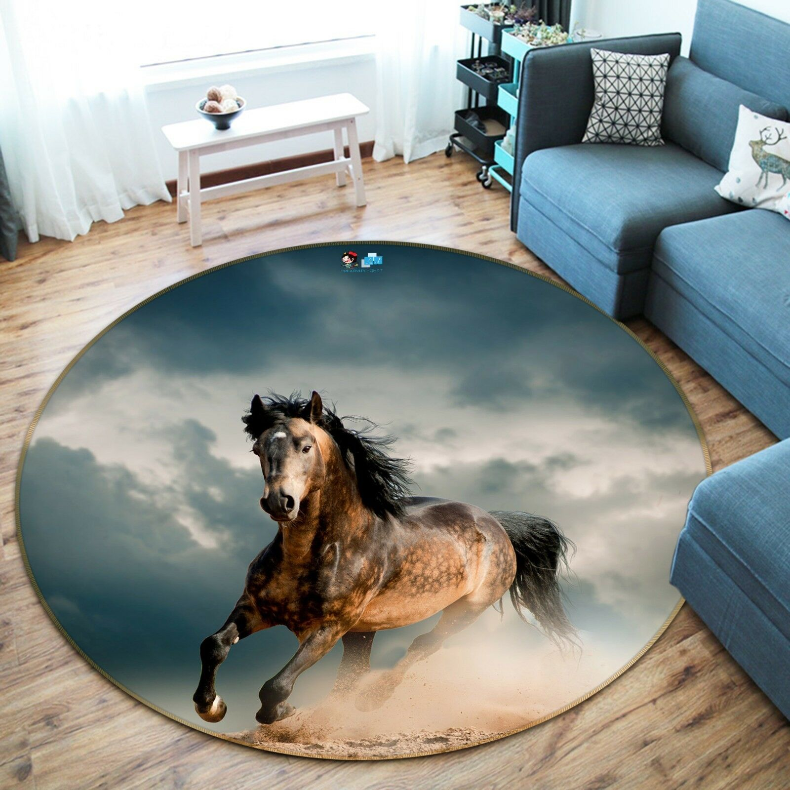 3D Fine Horse 42 Non Slip Rug Mat Room Mat Round Elegant Photo Carpet US Summer