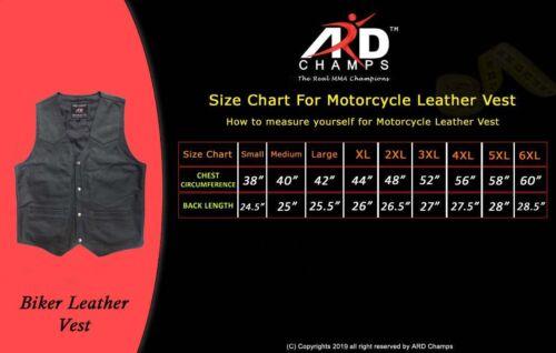 di pelle Ard Gilet stile Champs® vacchetta vera in 950 moto nera uomo Yxxqa06