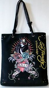 9d8cd7d8363b Image is loading Ed-Hardy-Christian-Audigier-Large-Tote-Black-Panther-