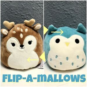 NWT-Flip-a-mallows-Squishmallows-Kellytoy-5-Dawn-Fawn-Winston-Teal-Owl-Plush
