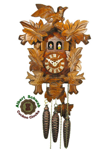 Black Forest Cuckoo Clock Carving Clock 1-Day Music NEW