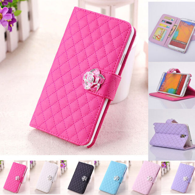 Crystal Magnet Bling Flip Leather Wallet Case Cover For  Samsung Galaxy W/Stand