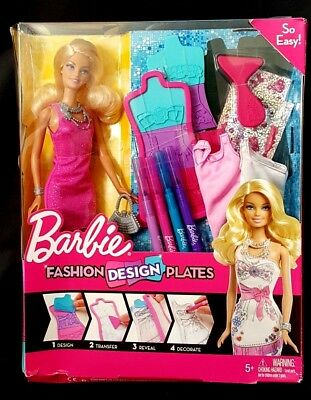Barbie Fashion Design Plates Doll New In Box 2013 Mattel Ebay