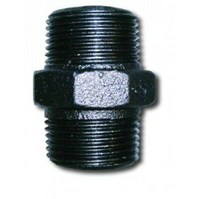 """1//4/"""" X 1//8/"""" BSP Reducing Hexagon Nipple Black Malleable Iron Pipe Fitting"""