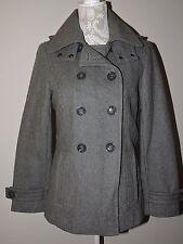 Calvin Klein Coat Gray Sz 6 Wool Blend Hooded Peacoat Women Winter Warm Fashion
