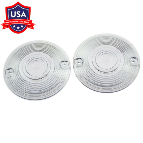 Clear Flat Turn Signal Lens Cover Fit For Harley Touring Dyna Softail 1986-2019