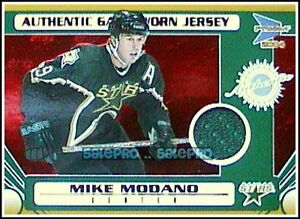 PACIFIC-PRISM-2003-MIKE-MODANO-NHL-DALLAS-STARS-114-RED-RUBY-GAME-JERSEY-75