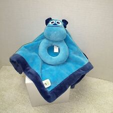 Disney Monsters Inc Sulley Blue Baby Security Blanket Lovey Rattle Ring Sully