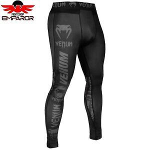 Venum-Compression-Spats-Logos-Schwarz-Fitness-Sport-MMA-Leggings-Hose-Herren