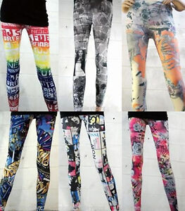 Newsprint Stretchy Leggings Graffiti Pants Articles Text Black/White/Red Blue US | EBay