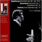 Beethoven: Sonaten Op. 26, Op. 31/1; Schumann: Toccata; Arabeske; Brahms: Vier Balladen (2013)