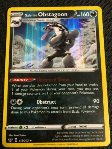 Pokemon SWSH SWORD /& SHIELD GALARIAN OBSTAGOON 119//202 RARE HOLO