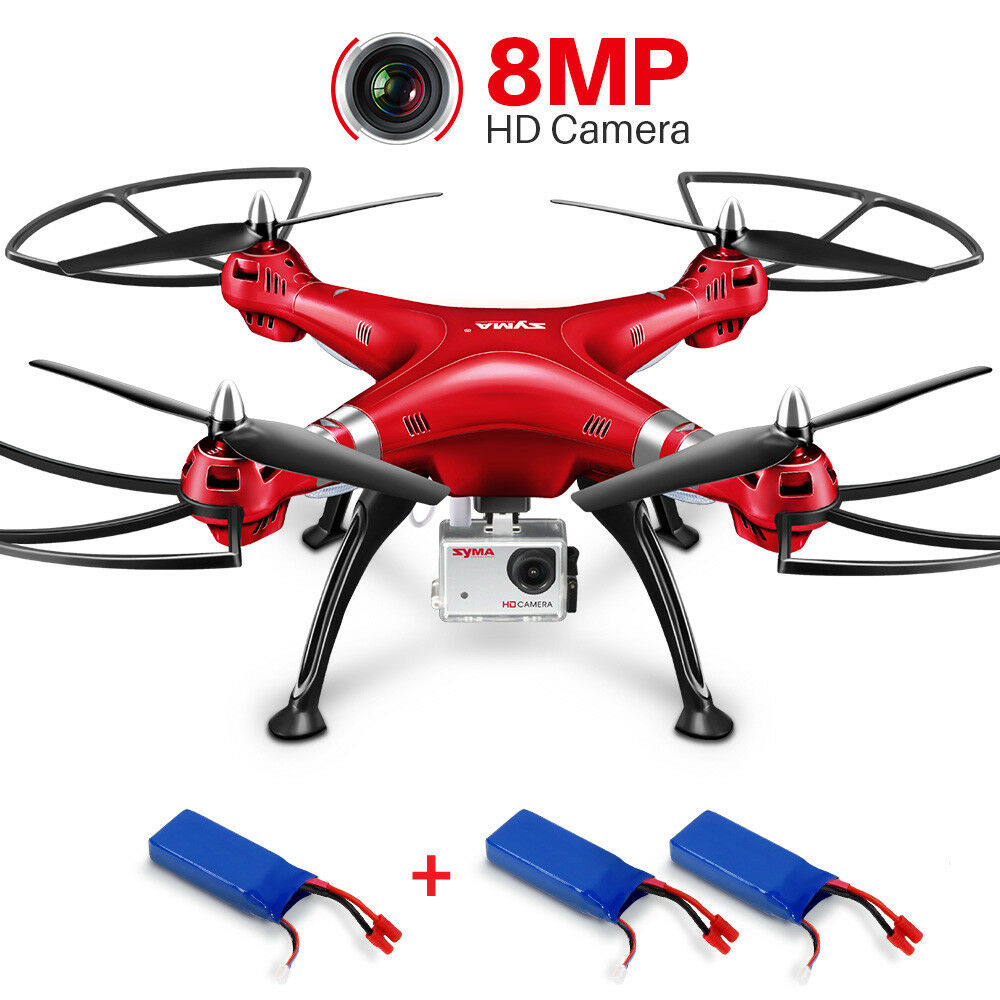 RC Quadcopter Drone SYMA X8HG 8MP HD Camera 1080P Video Altitude Hold 3Batteries