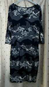 White-Stuff-Blue-Floral-Stretch-Viscose-Tunic-Style-Dress-Size-12