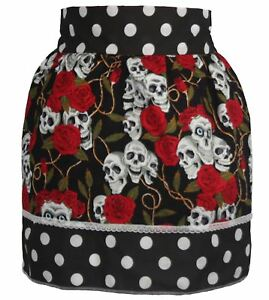 Ladies-1950-039-s-Black-Polka-Dot-Pinafore-With-Skull-amp-Roses-Pin-Up-Apron-One-Size