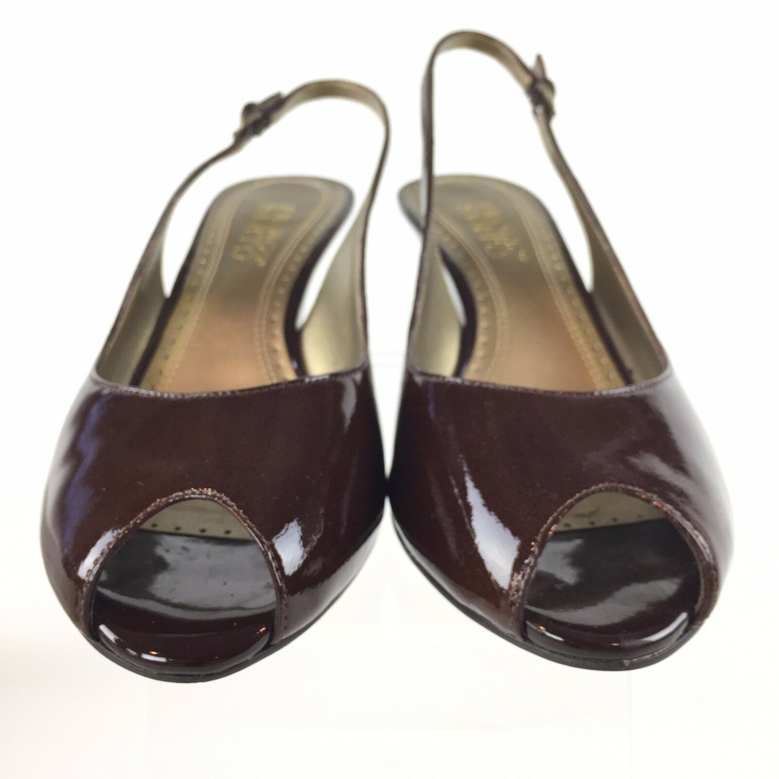 42585ed25c1 Buy Franco Sarto Brown Patent Leather Slingback Pump PEEP Toe Blaze 7.5m  Demi Wedge online