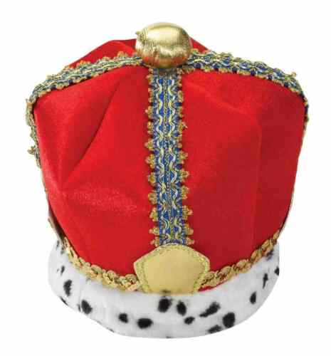 Velvet King Crown Medieval Red Fancy Dress Up Halloween Adult Costume Accessory