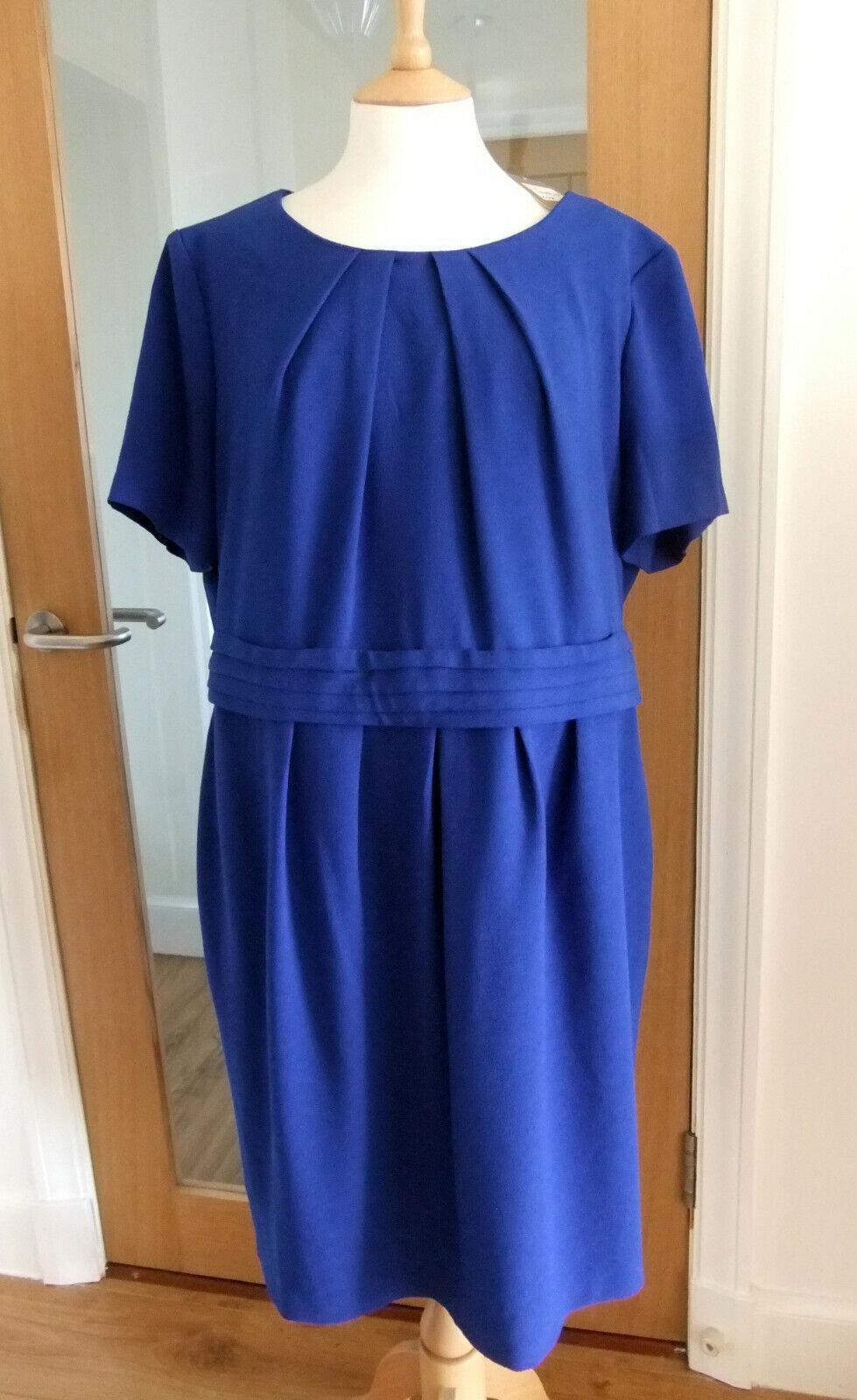 NEW DEBENHAMS CLASSICS blueE TEXTURED SHIFT DRESS SIZE 20