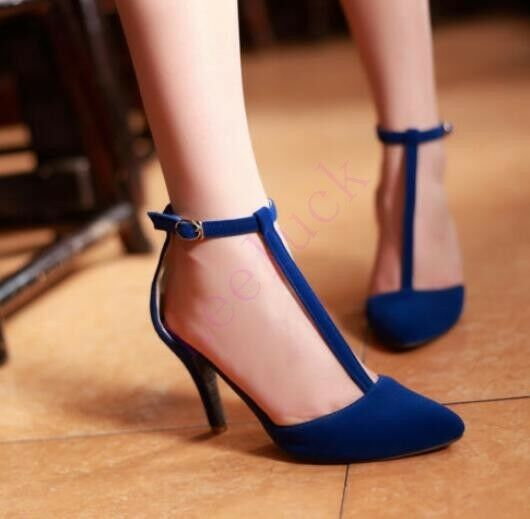 Lady Pumps Pointed Toe Ankle T-Strap Stiletto High High Stiletto Heels Faux Suede Dress Shoes 69676a