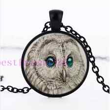 White Owl Green Eye Photo Cabochon Glass Black Chain Pendant  Necklace