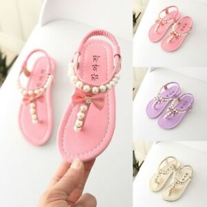 Lurryly Summer Toddler Infant Kids Baby Girls Bowknot Pearl Princess Thong Sandals Shoes