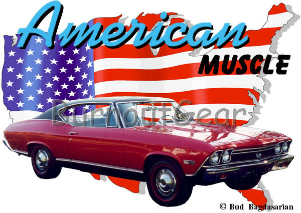 1968 ROT Chevy Chevelle SS Custom Hot Rod USA T-Shirt 68 Muscle Car Tees
