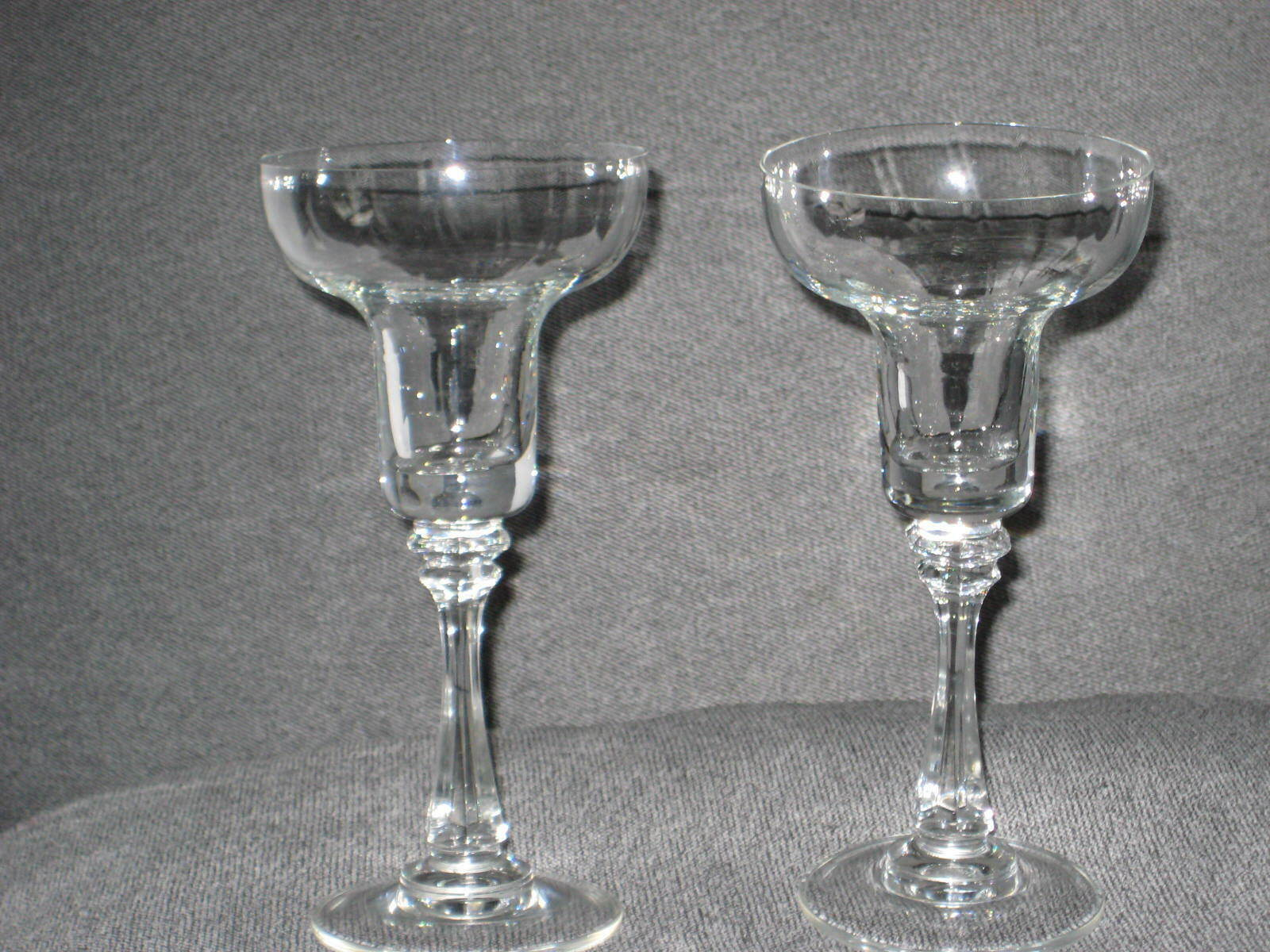 2 CRYSTAL CANDLE HOLDERS VINTAGE MID 50s WEDDING GIFT 6.5  HIGH MINT