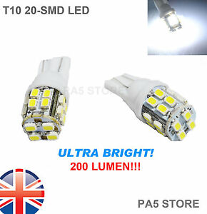 2x-20-SMD-LED-501-T10-W5W-XENON-WHITE-SIDE-LIGHTS-NUMBER-PLATE-BULBS-6000K-UK